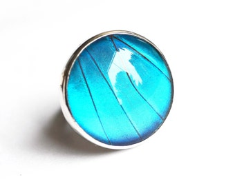 Real Butterfly Wing Ring. Blue Morpho Ring. Sterling Silver Butterfly Ring. Water Resistant Butterfly Wing Ring. Custom Made In Your Size