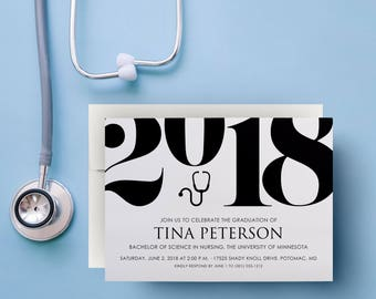nursing invitations graduation, nursing invitation, nursing school, 2018, medical school, healthcare, doctor, stethoscope, announcement