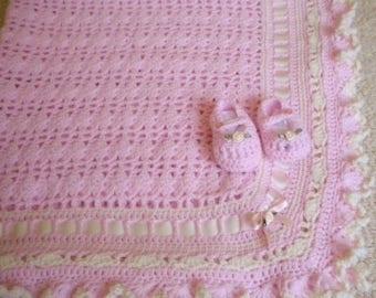 Crocheted Baby Afghan Pink w Ruffled Edges & Maryjanes