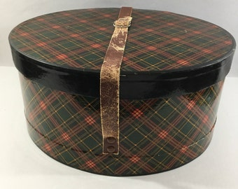 Vintage, Hat, Box, Large, Oval, Red, Black, Green, Plaid, Equestrian, Style, Brown, Leather, Adjustable, Buckle, Strap, Handle, 14 x 12
