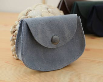 Change purse,leather coin purse,gray coin purse,pocket coin purse,leather wallet,mens wallet,mini coin purse,minimalist purse,grey wallet