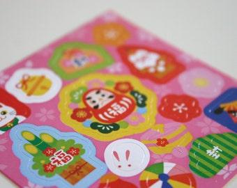 Nihon Motif Pink - Japanese print Stickers (1 sheet = 15 stickers)
