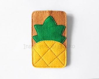 Pinapple felt phone case, summer iPhone 5 case sleeve, tropical mobile accessory, gift idea for her, fun tropical fruit, beach boho style