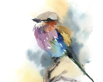 Lilac Bird Watercolor Painting Art Print, Bird Art, Watercolour Painting Art, Bird Wall Art Print