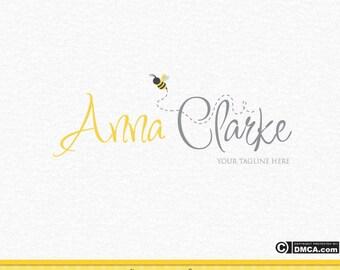 Premade Bee Logo, Photography Logo, Wedding Logo, Photographer Logo, Bumble Bee Logo, Yellow and Gray Logo Design, Watermark, Business Logo