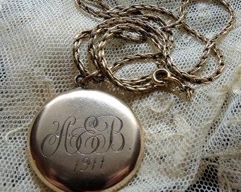 12K Gold Filled Reversible Pendant, Monogrammed AEB 1911, Decorative Rhinestone Reverse