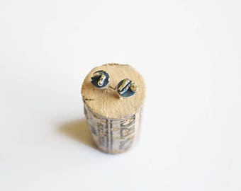 """Oxidized silver stud earrings, silver jewelry - """"In the middle of somewhere"""""""