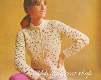 Chunky women's cardigan crochet pattern. Instant PDF download!