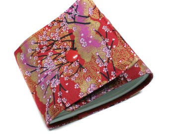 Long fabric checkbook Japanese cherry blossoms - women gift