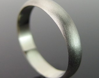 Half Round 14k White Gold Band Ring, White Gold Wedding Ring, White Gold Wedding Band, Brushed Finish, 4 x 1.5 mm