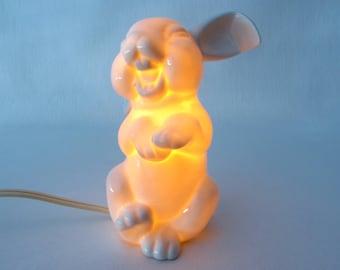 Ceramic night light, white rabbit, Rosenthal copy, rabbit night light, laughing rabbit, rabbit figurine, ceramic rabbit, bunny figurine