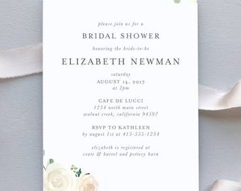 Bridal Shower or Baby Shower Invitation / Elegant Blush Floral Wedding Invitation Suite / Blush Floral Weddings / #1136