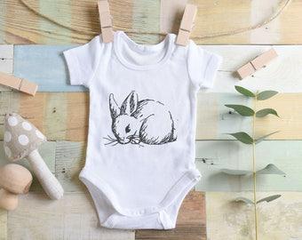 BUNNY RABBIT Embroidered baby onesie onepiece