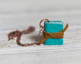 Mini Book Necklace Blue Book Jewelry Book Lover Girlfriend Gift Necklace for Mom Book Charm Gift Bookworm Gift for Her Journal