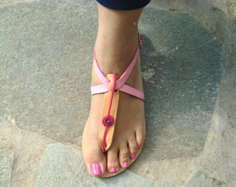 Leather sandals, Decorated sandals, Thong sandals, Natural sandals, Anemoni sandals
