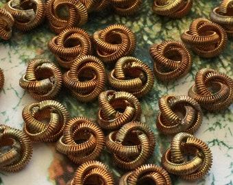 12 Vintage Brass LoveKnot Brassy Copper Textured Findings 10mm