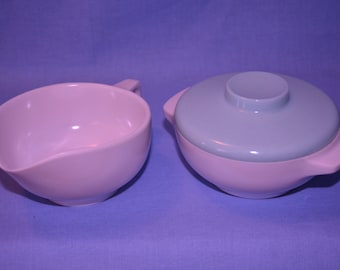 White Melamine/Melmac Cream and Sugar with Blue Lid 1960s