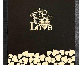 All you need is love guest book for 100-250 guest Drop Top Guest Book / Alternative Unique wedding guest book idea