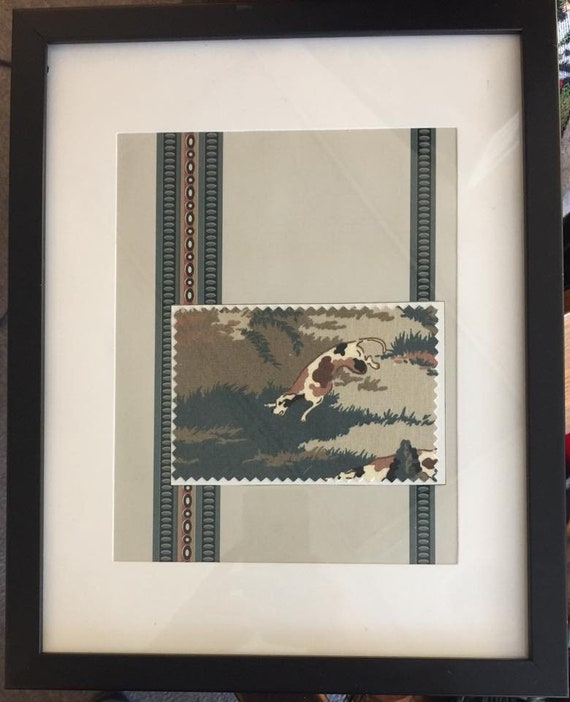 "Framed Art ""Amercian Companion"" from Upcycled Wallpaper and Fabric Samples"