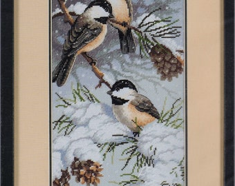 Creative Accents Cross Stitch Kit, #7972, Birds in Winter, Counted Cross Stitch, Birds, Home Decor, needle work, gift