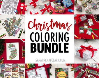 huge christmas coloring bundle printable templates for christmas gift tags bookmarks wrapping paper - Coloring Christmas Cards 2