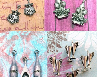 Collection of Wine/Drink Charms - 4 pieces-(Antique Pewter Silver Finish)