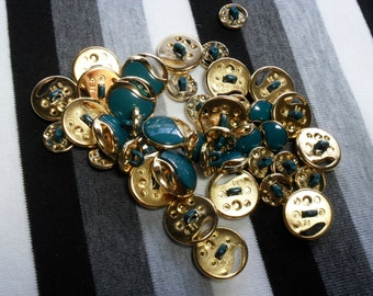 Round blue & gold plated button with shank. 2 sizes.  1 button.