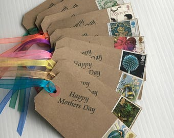 Mothers Day Gift Tags, Happy Mothers Day, Gift Tags, Genuine Used Postage Stamps, Vintage Gift Tags, Mothers Day Gift, Gift Wrap Tags, Label