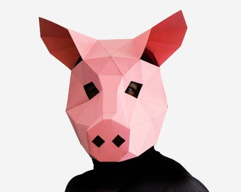 Pig Mask, DIY printable Animal Head, Instant Pdf download, DIY New Year Mask, Printable Mask, 3D Pattern, Polygon Masks