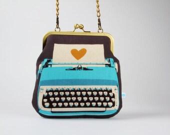 Clutch bag - Typewriter in blue - metal frame purse with shoulder strap