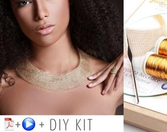 Cleopatra Necklace kit - Jewelry Making Kit - Wire crochet PDF pattern - DIY jewelry kit - Jewelry and Beading Kit - Crochet a Neckalce