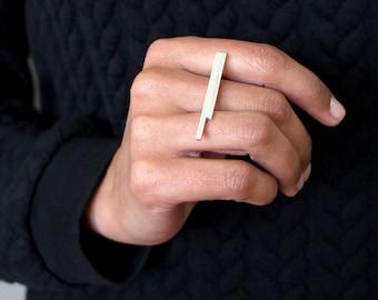 Lineare Sammlung - Ring - Sterling Silber zeitgenössischen Schmuck abstrakte geometrische minimale Linie urban stapelbar