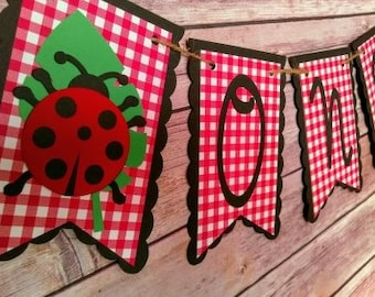 Ladybug banner, ladybug high chair banner, bug banner, one banner, ladybug birthday banner, ladybug birthday, ladybug party, ladybug decor