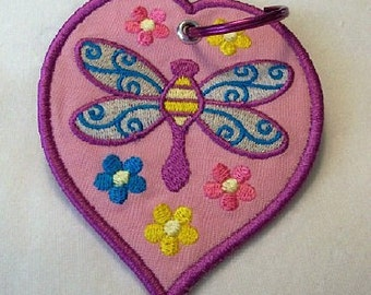 Dragonfly Embroidered Keychain/Lunchbag Tag/Luggage Tag