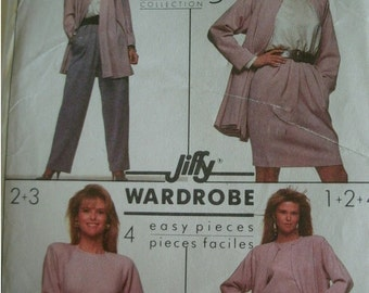 Misses Top, Pants, Skirt and Unlined Flared Jacket Size 6 Vintage Simplicity Wardrobe Pattern 8904 Christie Brinkley Collection UNCUT  1988