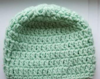 Baby Beanie | Newborn Hats | Green Beanie For Babies | Hospital Hats | Crochet Baby Hat