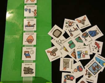 Daily Home Visual Schedules Support Kit w/ 30 Pecs ADD Apraxia Autism Spectrum
