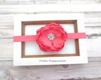 Baby Headband, Baby flower headband - Coral Flower Headband