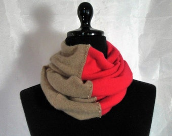 Infinity Cashmere Wool Scarf made from tan and rosey red sweaters