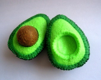 Felt food, Avocado set (original), eco friendly felt food, pretend play food for toy kitchen, felt avocado, felt food avocado, toy avocado