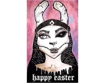 Happy easter card, greeting card, zombie greeting card, dark art, zombie art, dead nun, dark greeting card, horror card, evil rabbit