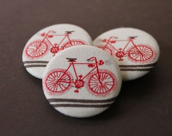 Fahrrad-Buttons | 3er Set | Fahrrad Stoff Knöpfe | Rotes Fahrrad-Print