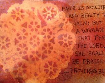 Small Original Painting, Inspirational Quote, Biblical Wall Art, Inspirational Painting, Proverbs Painting, Woman Painting, Mini Painting