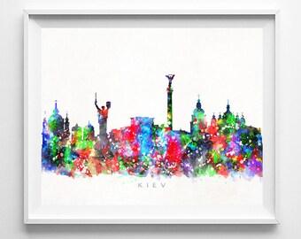 Kiev Skyline Print, Ukraine Print, Kiev Poster, Watercolor Art, Wall Decor, Back To School, City Skyline, Giclee Art, Fathers Day Gift