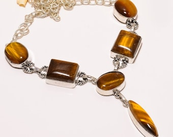 925 Silver plated natural tigers eye gemstone necklace