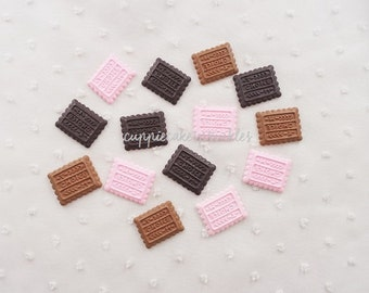 6pcs - Biscuit Cookie Mix Decoden Cabochon (21x16mm) CE10001