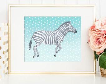 Zebra - 8x10 Printable Art, Zebra Art, Zebra Print, Watercolor Art, Watercolor Printable, Watercolor Art Print