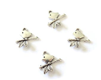 20 charms Bird on a branch metal Tweety Bird 32 chick 17x16mm