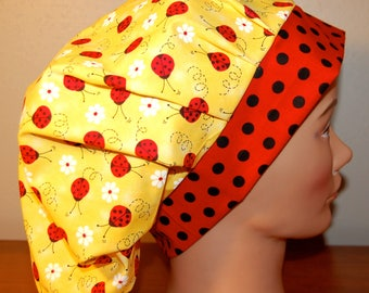 Women's Surgical Bouffant Scrub Cap Chemo Cap Red & Black Ladybugs on Yellow with Daisies, Dots Adjustable Velcro Closure One Size Fits Most