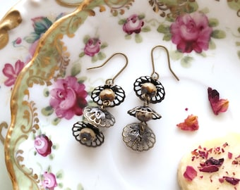 Tea Lights. Ivory Faceted Czech Glass and Antiqued Brass Earrings.